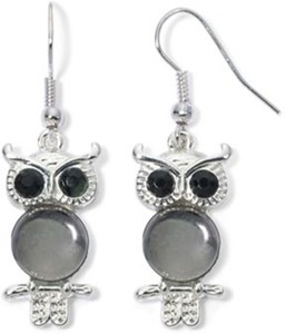 Silver/Black Owl Earrings