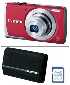 Canon A2500 16MP 5x Zoom Red Digital Camera w/ 8GB SD Card and Case