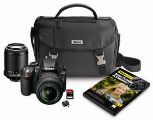 Nikon D3200 DSLR 2 Lens Bundle with 16GB Memory Card & Carrying Case