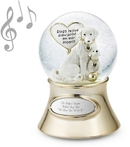 Musical Make-A-Wish Paw Prints Water Globe