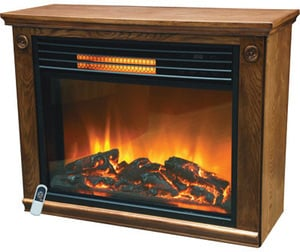 Source Green Heat Infrared Quartz Rolling Fireplace with Oak Mantel
