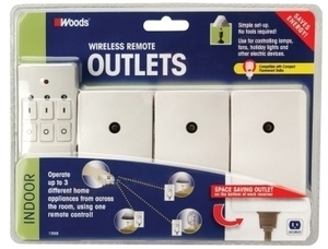 Woods White Indoor Wireless Remote Outlets 3 Pack