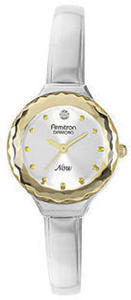Armitron Ladies Two Tone Round with Diamond Wall to Wall Crystal Bangle Watch