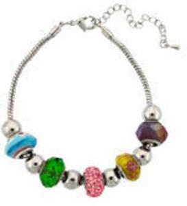 Silver Plated Artisan Glass Bracelet