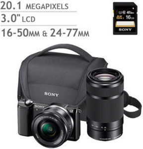 Sony A5000 Compact System Camera 2 Lens Bundle