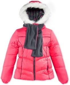 London Fog Girls Coat, Puffer Jacket, and Scarf