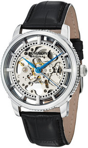 Stuhrling Original Men's Winchester Skeleton Leather Strap Watch