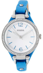 Fossil Women's Geogia Crystal Accent Analog Blue Leather Watch