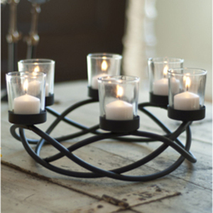 Round Waves Black Wrought Iron Candleholder