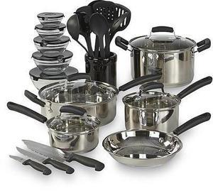 Essential Home 25PC Stainless Steel Cookware Set