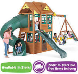 Big Backyard Premium Collection Charleston Lodge Wood Swing Set