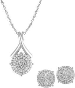 1.00 Carat T.W Diamond Sterling Silver Pendant and Earrings Box Set, 3 Piece