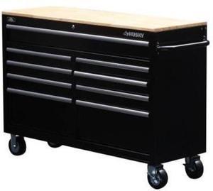"Husky 52"" 9-Drawer Steel Mobile Work Center + Free Peg Board"