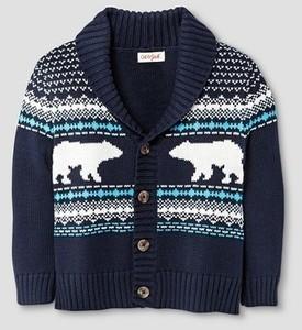 Toddler Boys' Shawl Collar Bear Pattern Jacquard Cardigan