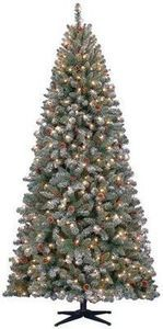 7.5' Hudson Snow Pine w/ 400 Clear Lights, Pinecone And Red Berry