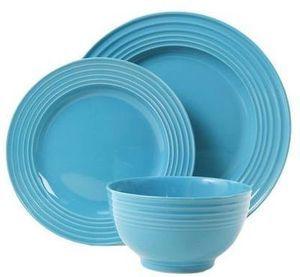 Gibson Plaza Cafe 12 Piece Turquoise Dinnerware Set