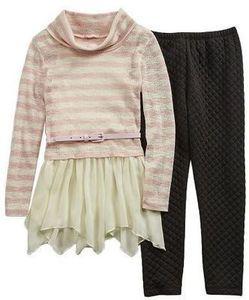 Self Esteem Girls Cowl Neck Tunic with Skirt Legging Set