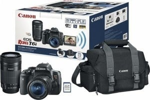 Canon EOS Rebel T6i DSLR Camera with 18-55mm and 55-250mm Lenses, Bag and Memory Card