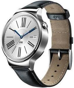 Huawei Smart Watch Stainless Steel with Black Suture Leather Strap