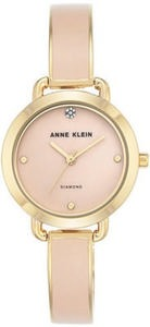 Anne Klein Women's Diamond Accent Blush Enamel & Gold-Tone Bangle Bracelet Watch