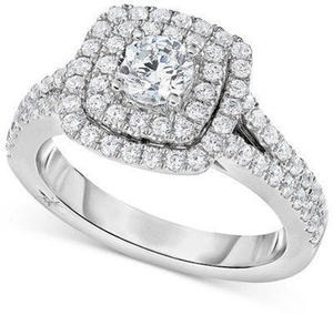 Certified Diamond Square Halo Engagement Ring