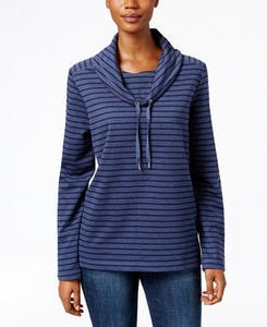 Karen Scott Striped Funnel-Neck Sweater