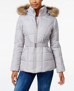 Rampage Junior's Faux-Fur-Trim Hooded Belted Puffer Coat