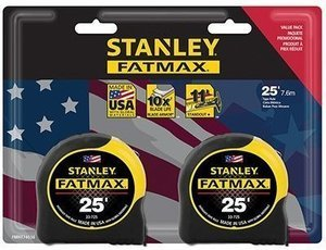 Two Pack 25 ft. Stanley FATMAX Tape Measure Set