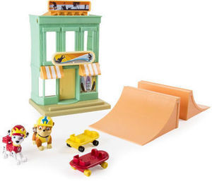 Paw Patrol Adventure Beach Marshall and Rubble' s Beach Skate Shop Playset