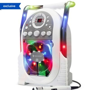 The Singing Machine Karaoke System with LED Disco Lights - White
