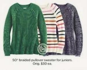 So Juniors Braided Pullover Sweater
