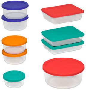 Pyrex 18-Pc. Glass Storage Set w/ Colored Lids After Rebate