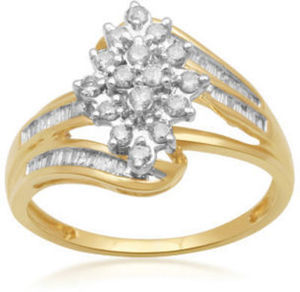 1/2 CT. T.W. Diamond 10K Yellow Gold Cluster Ring