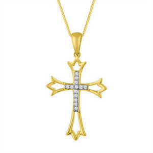 Womens Diamond Accent 10K Gold Cross Pendant Necklace