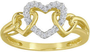 Diamond-Accent 10K Yellow Gold Triple-Heart Ring