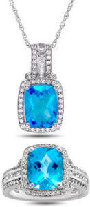 Genuine Blue Topaz & White Sapphire Sterling Silver 2pc Ring Pendant Boxed Set