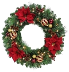 "Celebrations Royal Crimson Prelit Green 30"" Christmas Wreath"