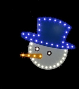 Santa's Best Snowman Face LED Christmas Decoration 14-1/2 in.