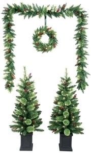 Multi-Size H Prelit Christmas Tree, Wreath & Garland Combo