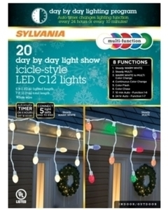 Sylvania 8 Function LED Icicle Lights Color Changing Lights