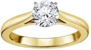 14K Yellow Gold 1 Carat Certified Round Diamond Ring