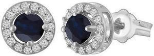 Sterling Silver Sapphire and White Topaz Earrings