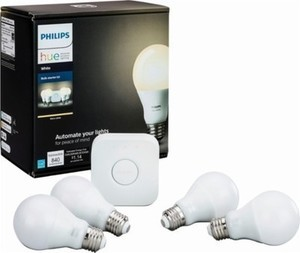 Philips - Hue White A19 Starter Kit
