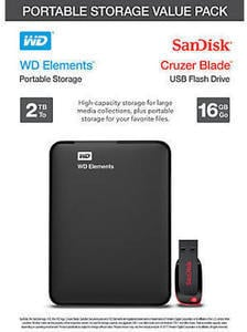 WD Elements 2TB External Hard Drive & SanDisk 16GB USB Flash Drive Bundle