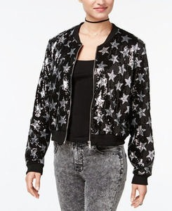 Juniors' Star Sequined Bomber Jacket