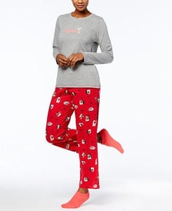 Hue Graphic Top, Printed Pajama Pants & Socks Pajama Set