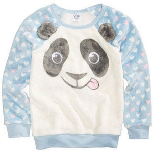Panda Fuzzy Plush Sweatshirt, Little Girls (4-6X)