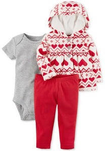 3-Pc. Printed Hoodie, Bodysuit & Leggings Set, Baby Girls (0-24 months)