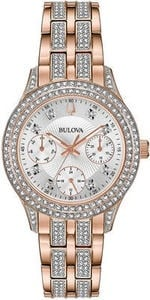 Bulova Women's Crystal Rose Gold-Tone Stainless Steel Bracelet Watch