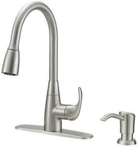 Project Source Brushed Nickel 1-Handle Deck Mount Pull-down Kitchen Faucet